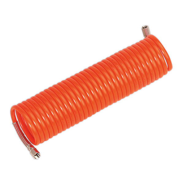 """Sealey AH10C/8 PU Coiled Air Hose 10mtr x 8mm with 1/4""""BSP Unions"""