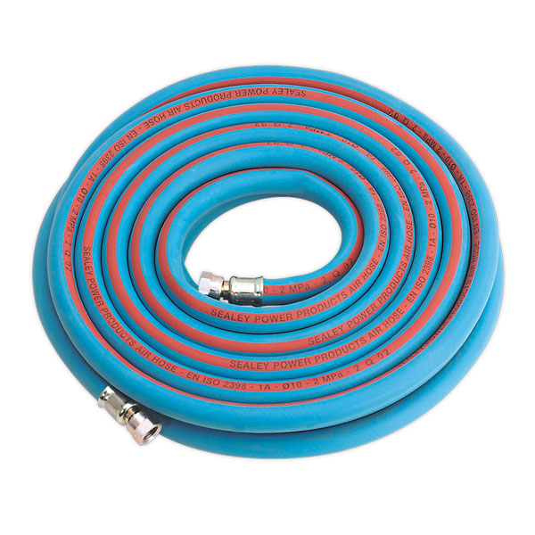 "Sealey AH10R/38 Air Hose 10mtr x 10mm with 1/4""BSP Unions Extra Heavy-Duty"
