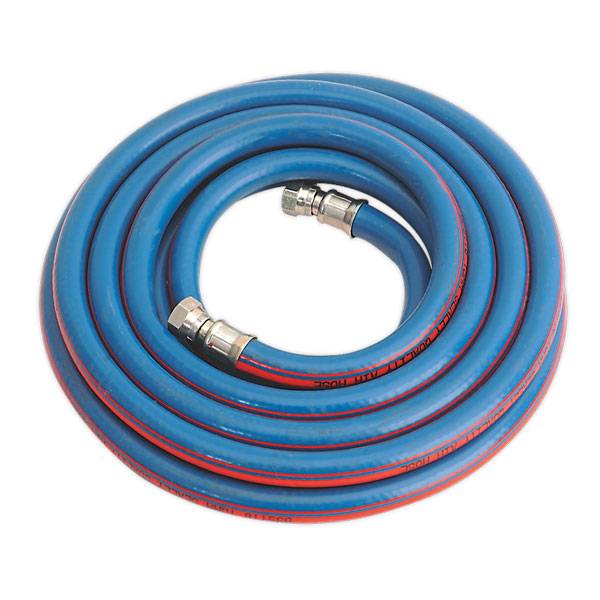 "Sealey AH5R/38 Air Hose 5mtr x 10mm with 1/4""BSP Unions Extra Heavy-Duty"