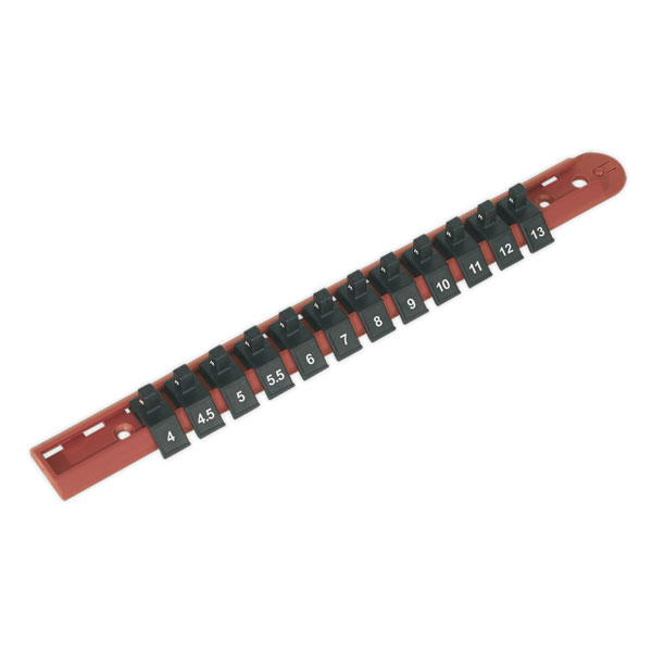 "Sealey AK1412 Socket Retaining Rail with 12 Clips 1/4""Sq Drive"