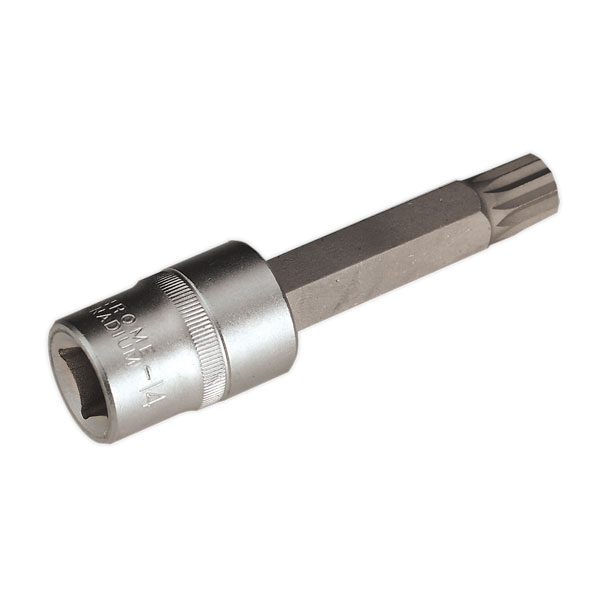 "Sealey AK5531 XZN Spline Socket Bit M14 Long 1/2""Sq Drive"
