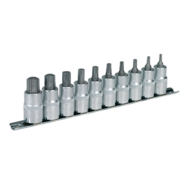 "Sealey AK6208 TRX-Star Socket Bit Set 1/2""Sq Drive 10pc"