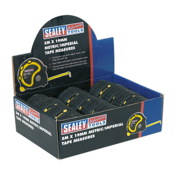 Sealey AK98912 Rubber Measuring Tape 5mtr(16ft)x19mm Metric/Imperial 12 Pack