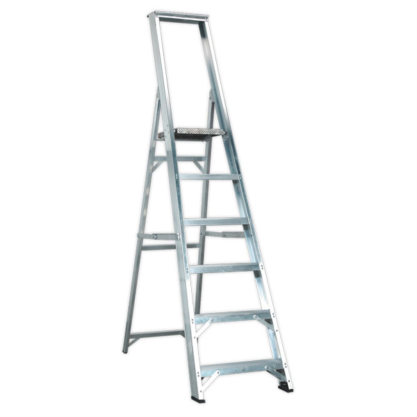 Sealey AXL6 Aluminium Step Ladder 6-Tread Industrial BS2037/1