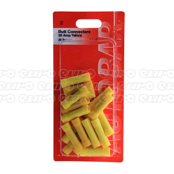 Autobar Butt Connector Yellow (6mm) (PK20)