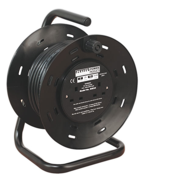 Sealey BCR25 Cable Reel 25mtr 4 x 230V 1.25mm Thermal Trip