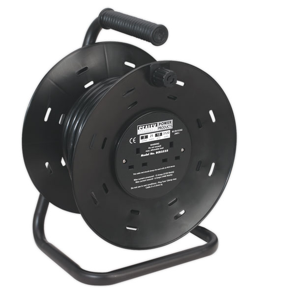 Sealey BCR2525 Cable Reel 25mtr 4 x 230V 2.5mm Thermal Trip