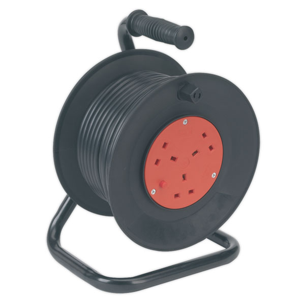 Sealey BCR253T Cable Reel 25mtr 3 Core 230V Thermal Trip