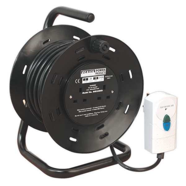 Sealey BCR25RCD Cable Reel 25mtr 4 x 230V 1.25mm Thermal Trip with RCD Plug