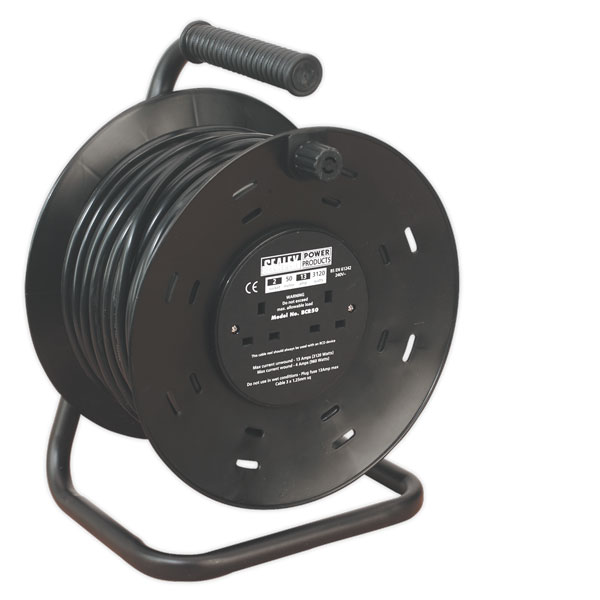 Sealey BCR50 Cable Reel 50mtr 4 x 230V 1.25mm Thermal Trip