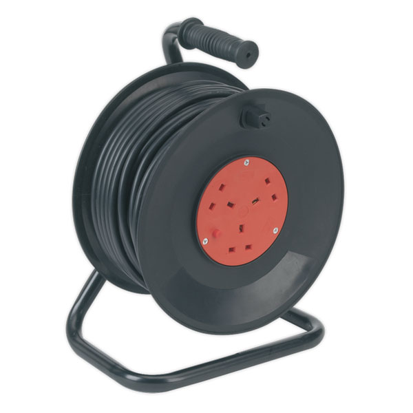 Sealey BCR503T Cable Reel 50mtr 3 Core 230V Thermal Trip