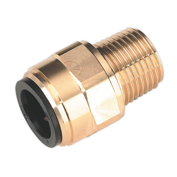 "Sealey CAS15BSA 15mm x 1/2""BSPT Brass Straight Adaptor"