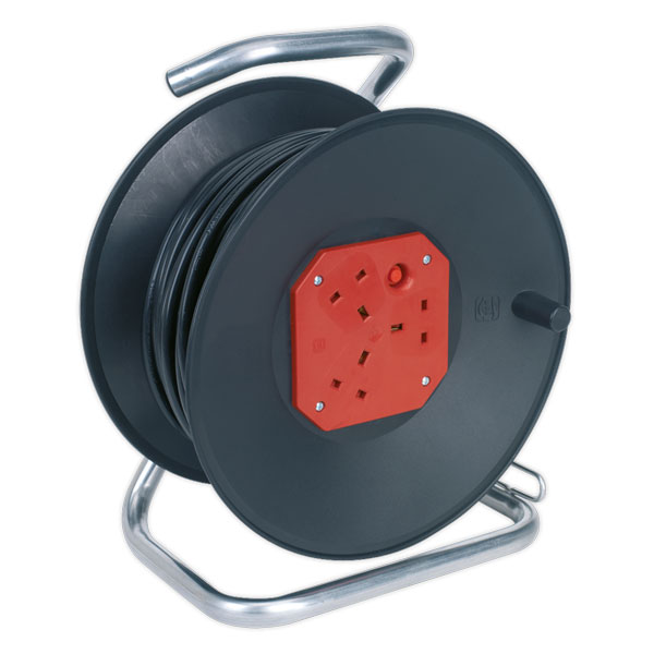 Sealey CR50/1.5 Cable Reel 50mtr 3 x 230V Heavy-Duty Thermal Trip