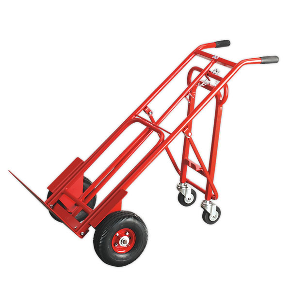 Sealey CST989 Sack Truck 3-in-1 with 250 x 90mm Pneumatic Tyre 250kg Capacity