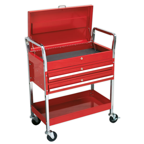 Sealey CX1042D Trolley 2-Level Extra Heavy-Duty with Lockable Top & 2 Drawers