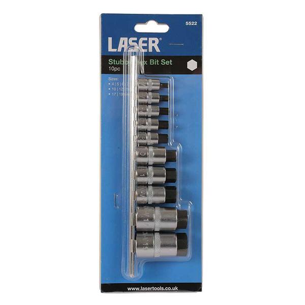 Laser Hex Bit Set 10pc 4mm - 19mm