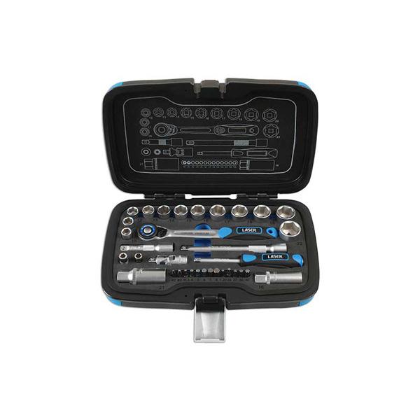 """Laser Socket Set - 3/8""""D & 1/4""""D 34pc"""