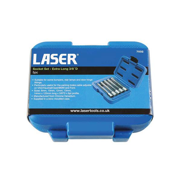 "Laser Socket Set - Extra Long 3/8""D 5pc"