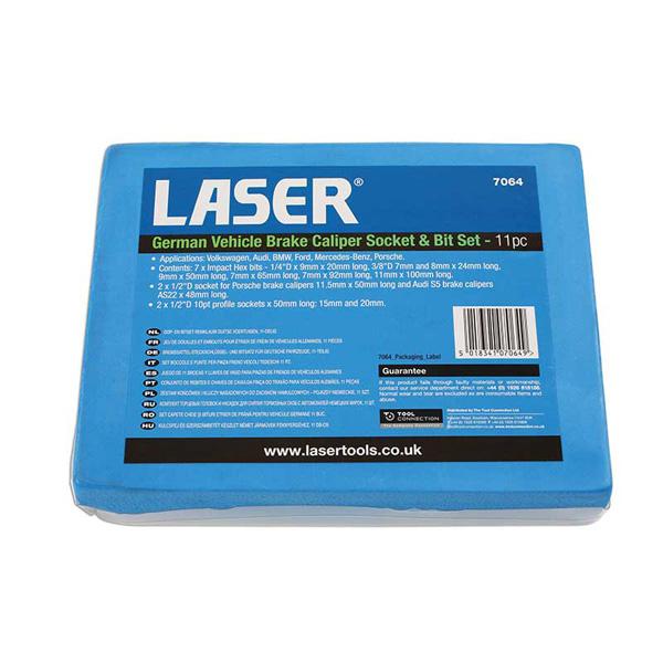 Laser German Vehicle Brake Caliper Socket & Bit Set 11pc