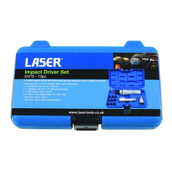 """Laser Impact Driver Set 3/4""""D - 13pc"""
