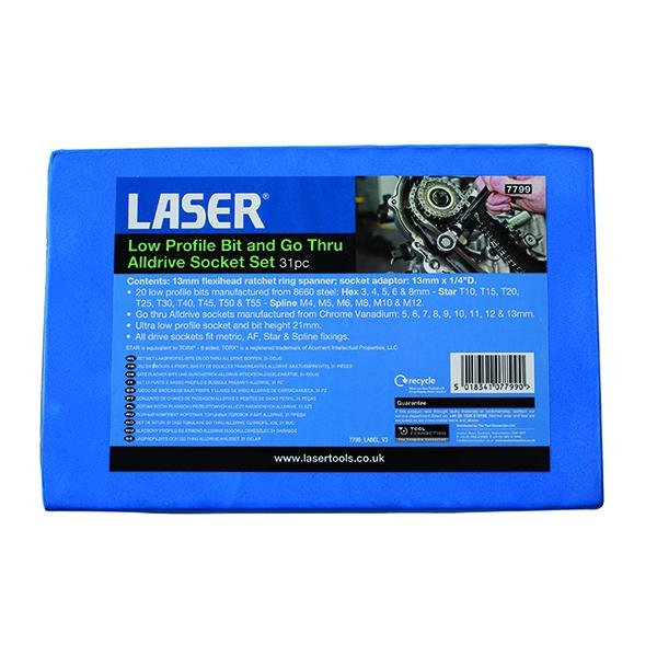Laser Low Profile Bit & Go Thru Alldrive Socket Set 31pc