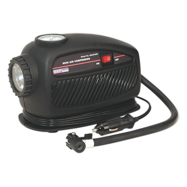 Sealey MAC23250 Mini Compressor with Emergency Light 12V