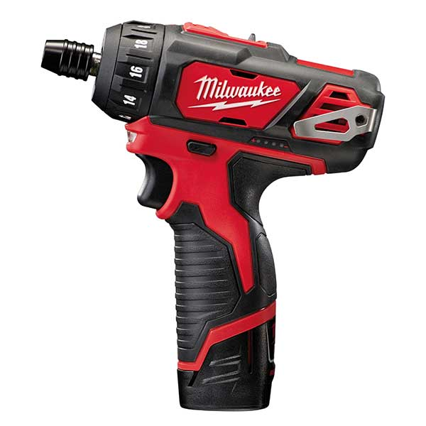 Milwaukee M12 Compact Screwdriver with 2 x 2.0AH Batteries, Charger and Soft Case.