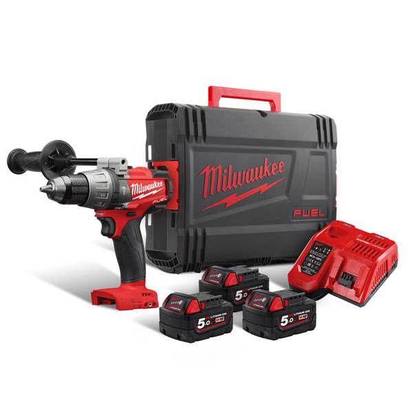 Milwaukee M18 Fuel Combi Drill + 3 x 5amp Batteries