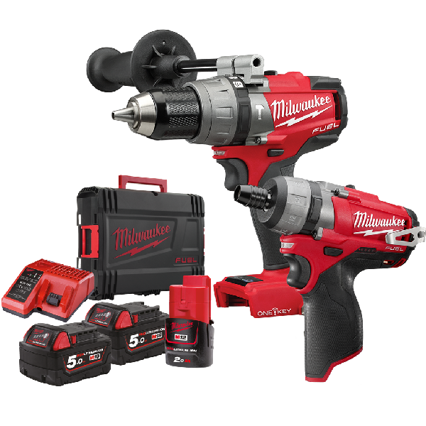 Milwaukee M18 One Key Fuel Pussion Drill and M12 Driver Combi Twin Pack