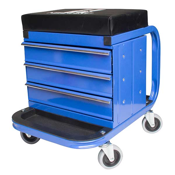 Normfest Mobile Workshop Stool with Storage Drawers & Wheels