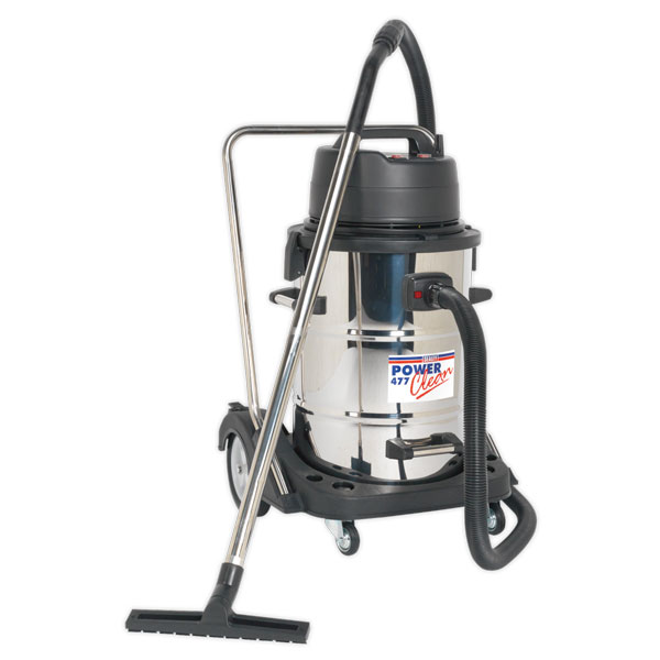 Sealey PC477 Industrial WetDry Vacuum Cleaner 77ltr Stainless Drum 2400W/230V