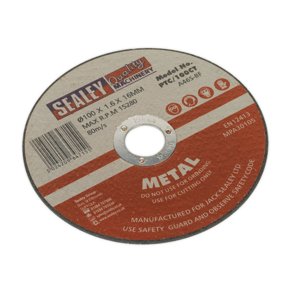 Sealey PTC/100CT Cutting Disc 100 x 1.6mm 16mm Bore