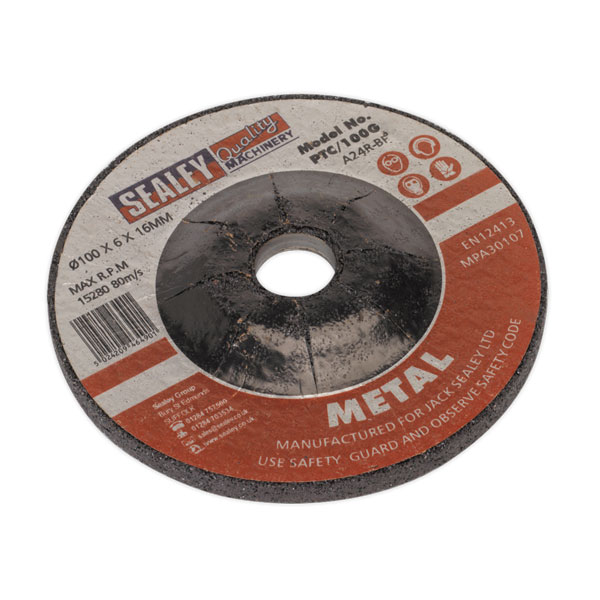 Sealey PTC/100G Grinding Disc 100 x 6 x 16mm