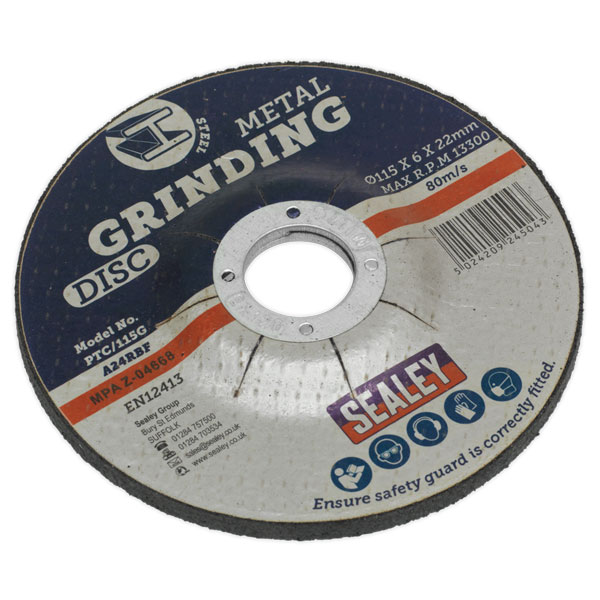 Sealey PTC/115G Grinding Disc 115 x 6 x 22mm