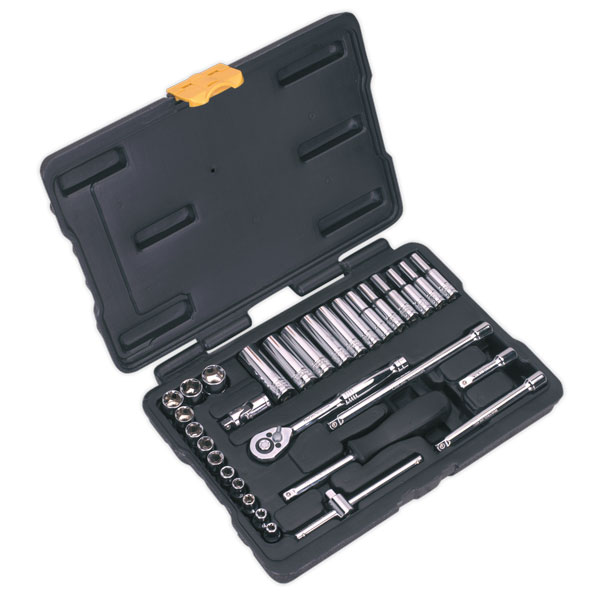 "Siegen S0690 Socket Set 31pc 1/4""Sq Drive Metric"