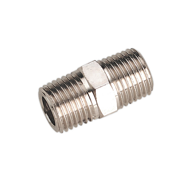 "Sealey SA1/1414 Nipple 1/4""BSPT Male to 1/4""BSPT Male"