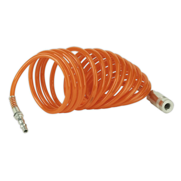 Sealey SA305 Coiled Air Hose 5mtr 5mm with Couplings