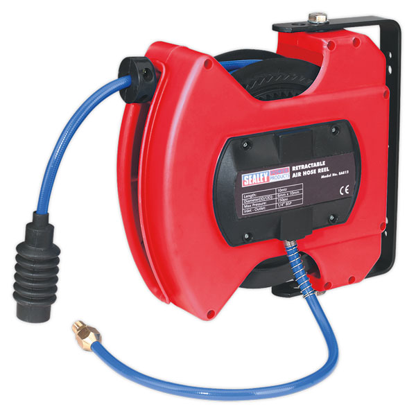 Sealey SA812 Retractable Air Hose Reel 10mtr 6mm ID Polyurethane Hose