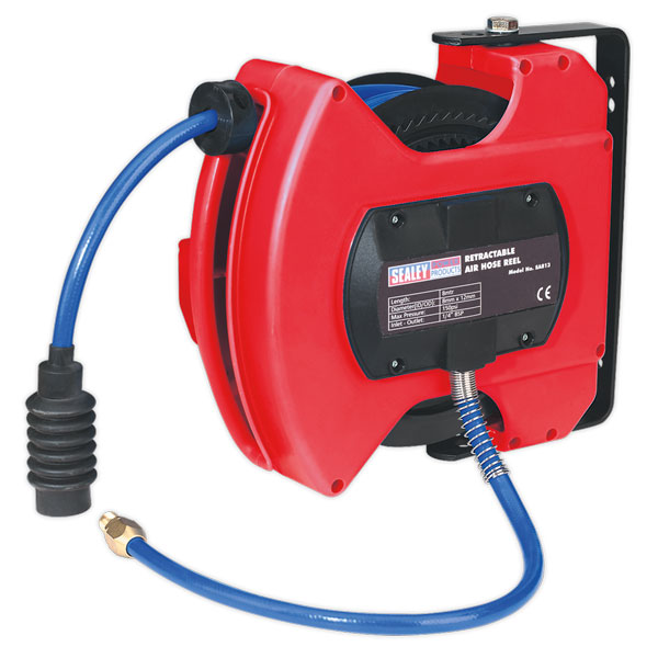 Sealey SA813 Retractable Air Hose Reel 10mtr 8mm ID - PU Hose