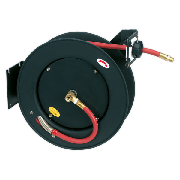 Sealey SA841 Retractable Air Hose Metal Reel 15mtr 10mm ID Rubber Hose