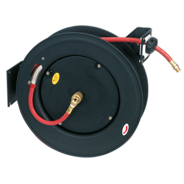 Sealey SA85 Retractable Air Hose Steel Reel 20mtr 10mm ID Rubber Hose
