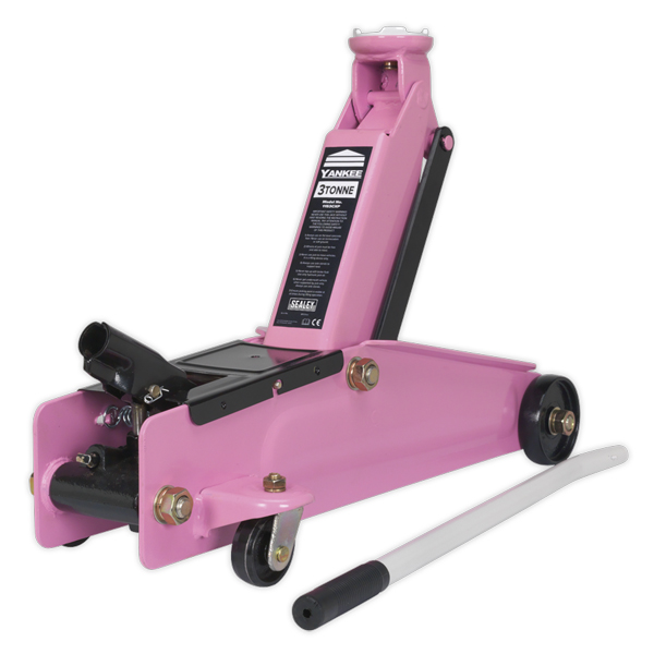Sealey Trolley Jack 3tonne Long Chassis Heavy-Duty Pink