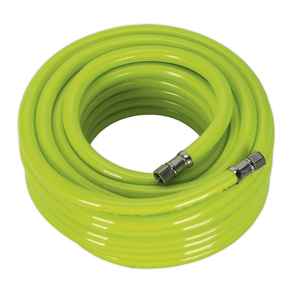 """Sealey Air Hose High Visibility 15mtr x 10mm with 1/4""""BSP Unions"""