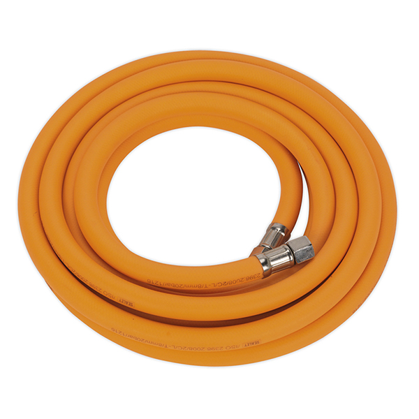 """Sealey Air Hose 5mtr x 8mm Hybrid High Visibility with 1/4""""BSP Unions"""