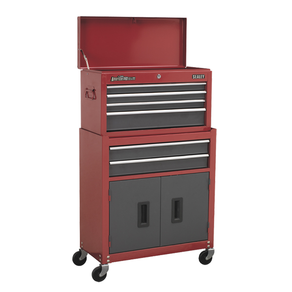 Sealey AP2200BB Topchest & Rollcab Combination 6 Drawer with Ball Bearing Slides - Red/