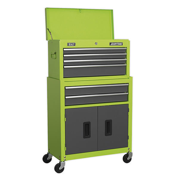 Sealey 6 Drawer Topchest & Rollcab Combination - High Vis Green