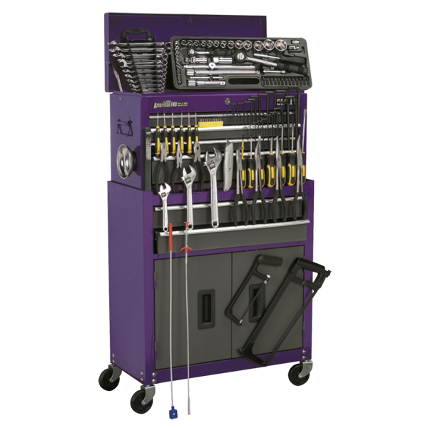 Sealey 6 Drawer Topchest & Rollcab Combination +128pc Tool Kit - Purple