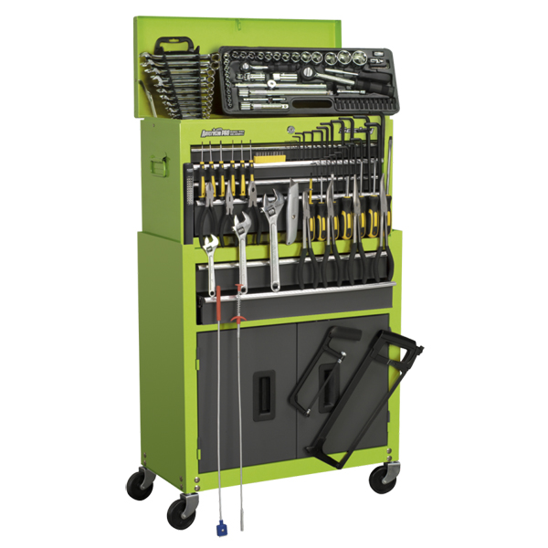 Sealey 6 Drawer Topchest & Rollcab Combination +128pc Tool Kit - High Vis Green