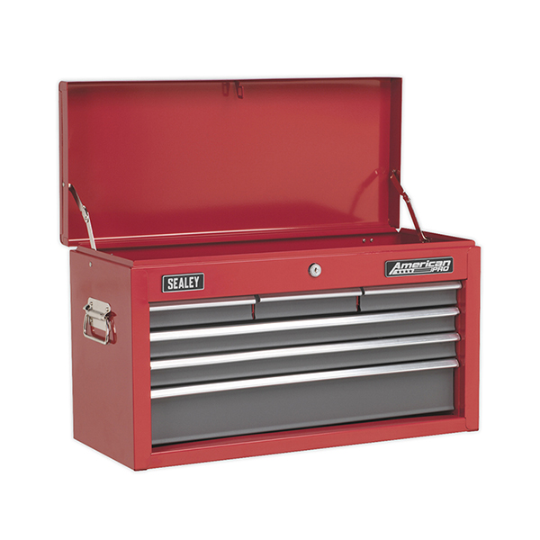 Sealey AP2201BB Topchest 6 Drawer with Ball Bearing Slides - Red/Grey