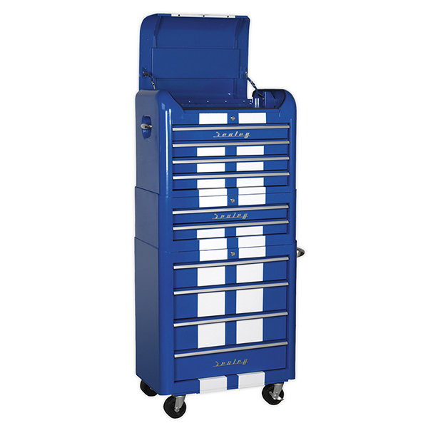Sealey Retro Blue With Stripes 4+2+4 DrawerChest, Box & Roll Cab Combo
